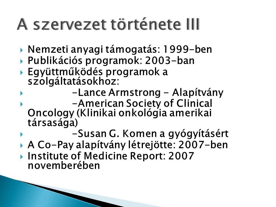  Nemzeti anyagi támogatás: 1999-ben  Publikációs programok: 2003-ban  Együttműködés programok a szolgáltatásokhoz:  -Lance Armstrong - Alapítvány  -American Society of Clinical Oncology (Klinikai onkológia amerikai társasága)  -Susan G.