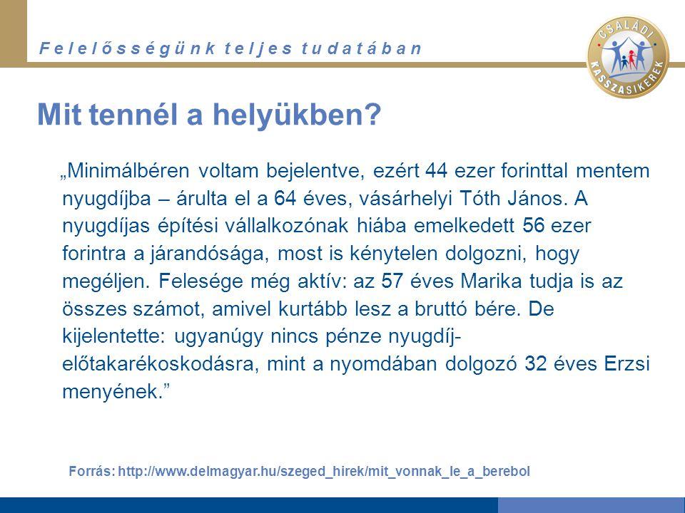"""F e l e l ő s s é g ü n k t e l j e s t u d a t á b a n Nyugdíjrendszerünk """"gyermekbetegségei Forrás: ONYF, www.kilabalas.hu/static/designs/kilabalas/.../getFile.jsp?order..."""