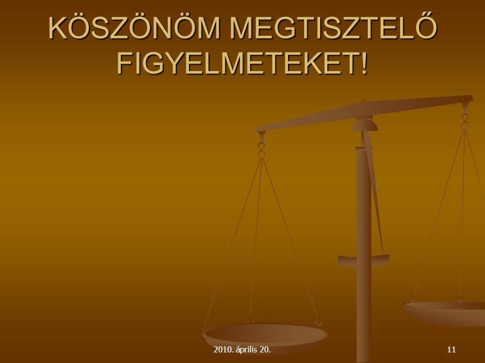 KÖSZÖNÖM MEGTISZTELŐ FIGYELMETEKET! 2010. április 20.11