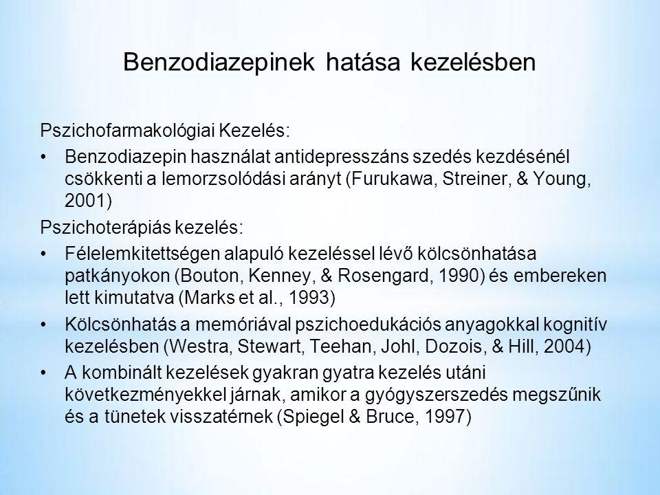 Benzodiazepinek hatása kezelésben Pszichofarmakológiai Kezelés: •Benzodiazepin használat antidepresszáns szedés kezdésénél csökkenti a lemorzsolódási arányt (Furukawa, Streiner, & Young, 2001) Pszichoterápiás kezelés: •Félelemkitettségen alapuló kezeléssel lévő kölcsönhatása patkányokon (Bouton, Kenney, & Rosengard, 1990) és embereken lett kimutatva (Marks et al., 1993) •Kölcsönhatás a memóriával pszichoedukációs anyagokkal kognitív kezelésben (Westra, Stewart, Teehan, Johl, Dozois, & Hill, 2004) •A kombinált kezelések gyakran gyatra kezelés utáni következményekkel járnak, amikor a gyógyszerszedés megszűnik és a tünetek visszatérnek (Spiegel & Bruce, 1997)