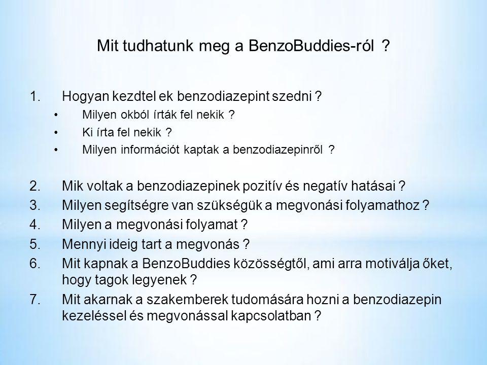 Mit tudhatunk meg a BenzoBuddies-ról .1.Hogyan kezdtel ek benzodiazepint szedni .