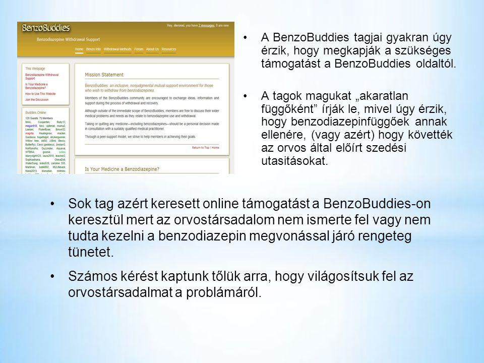 •A BenzoBuddies tagjai gyakran úgy érzik, hogy megkapják a szükséges támogatást a BenzoBuddies oldaltól.
