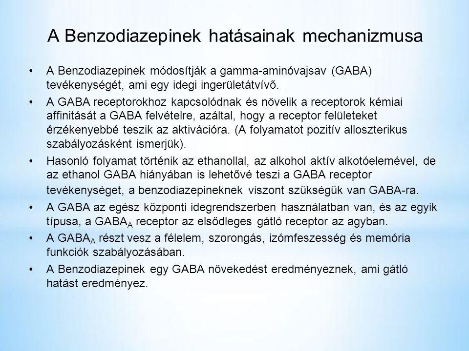 A Benzodiazepinek hatásainak mechanizmusa •A Benzodiazepinek módosítják a gamma-aminóvajsav (GABA) tevékenységét, ami egy idegi ingerületátvívő.