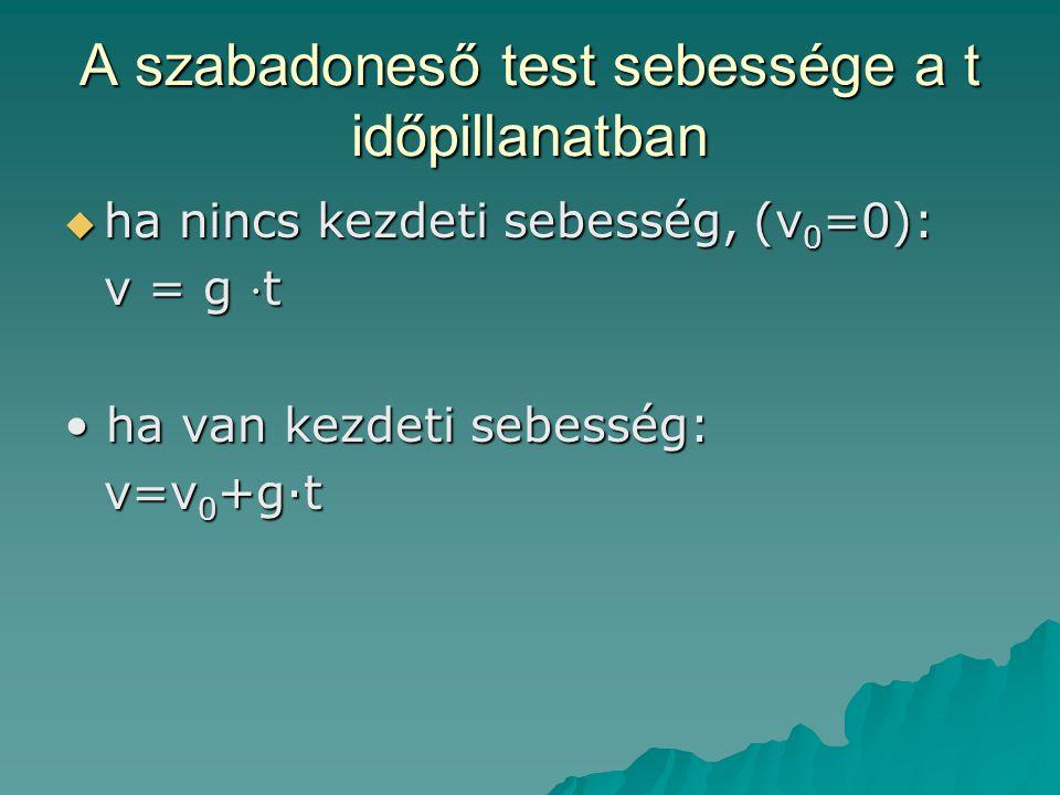 A szabadoneső test sebessége a t időpillanatban  ha nincs kezdeti sebesség, (v 0 =0): v = g ⋅ t • ha van kezdeti sebesség: v=v 0 +g·t v=v 0 +g·t