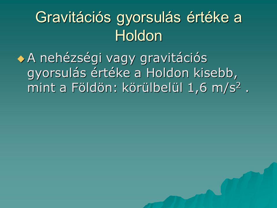 Gravitációs gyorsulás értéke a Holdon  A nehézségi vagy gravitációs gyorsulás értéke a Holdon kisebb, mint a Földön: körülbelül 1,6 m/s 2.