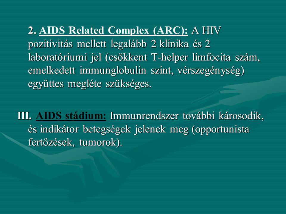 2. A HIV pozitivitás mellett legalább 2 klinika és 2 laboratóriumi jel (csökkent T-helper limfocita szám, emelkedett immunglobulin szint, vérszegénysé