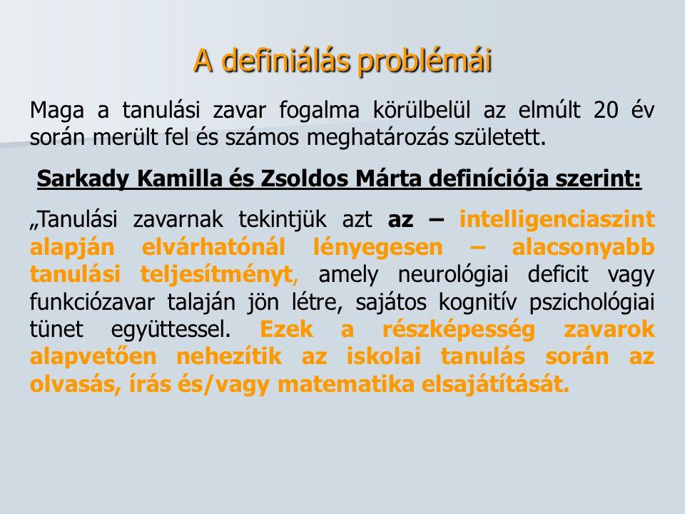 A definiálás problémái Maga a tanulási zavar fogalma körülbelül az elmúlt 20 év során merült fel és számos meghatározás született. Sarkady Kamilla és