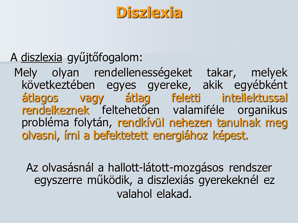 Diszlexia A diszlexia gyűjtőfogalom: Mely olyan rendellenességeket takar, melyek következtében egyes gyereke, akik egyébként átlagos vagy átlag felett