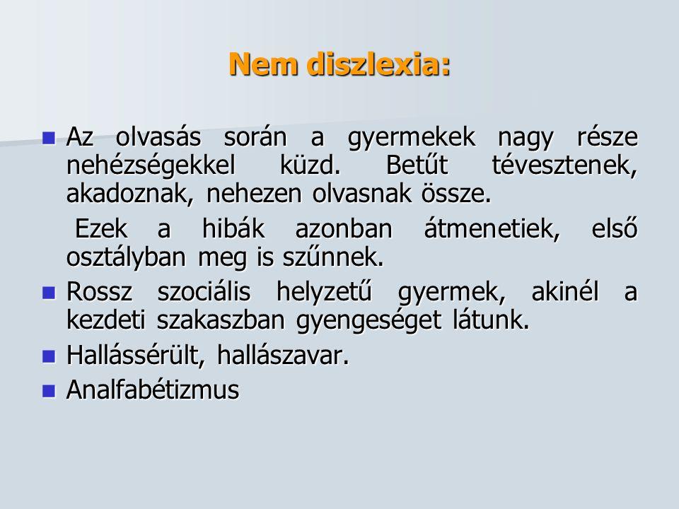 Nem diszlexia:  Az olvasás során a gyermekek nagy része nehézségekkel küzd. Betűt tévesztenek, akadoznak, nehezen olvasnak össze. Ezek a hibák azonba