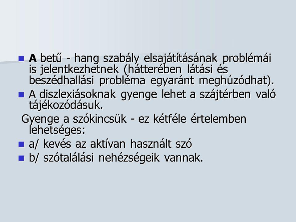  A betű - hang szabály elsajátításának problémái is jelentkezhetnek (hátterében látási és beszédhallási probléma egyaránt meghúzódhat).  A diszlexiá