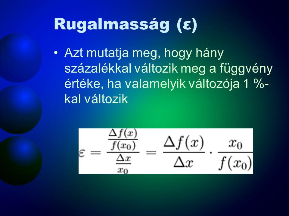 Rugalmasság (ε) •Azt mutatja meg, hogy hány százalékkal változik meg a függvény értéke, ha valamelyik változója 1 %- kal változik