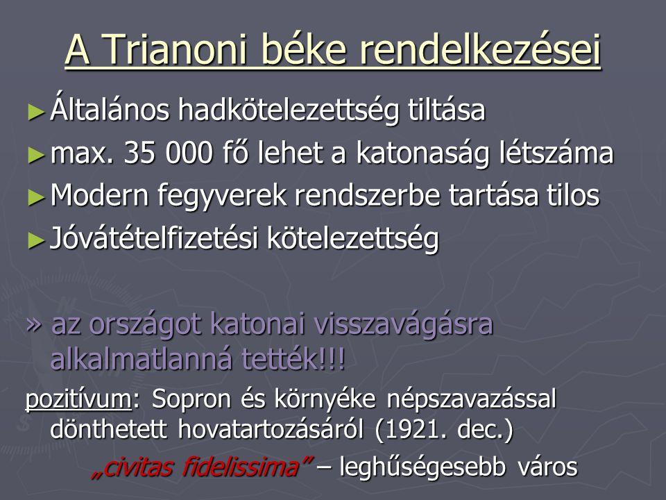 A Trianoni béke rendelkezései ► Általános hadkötelezettség tiltása ► max. 35 000 fő lehet a katonaság létszáma ► Modern fegyverek rendszerbe tartása t