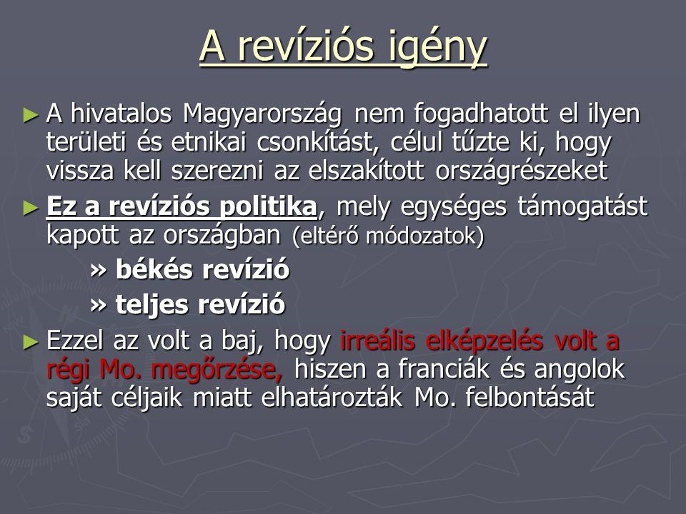 A revíziós igény ► A hivatalos Magyarország nem fogadhatott el ilyen területi és etnikai csonkítást, célul tűzte ki, hogy vissza kell szerezni az elsz