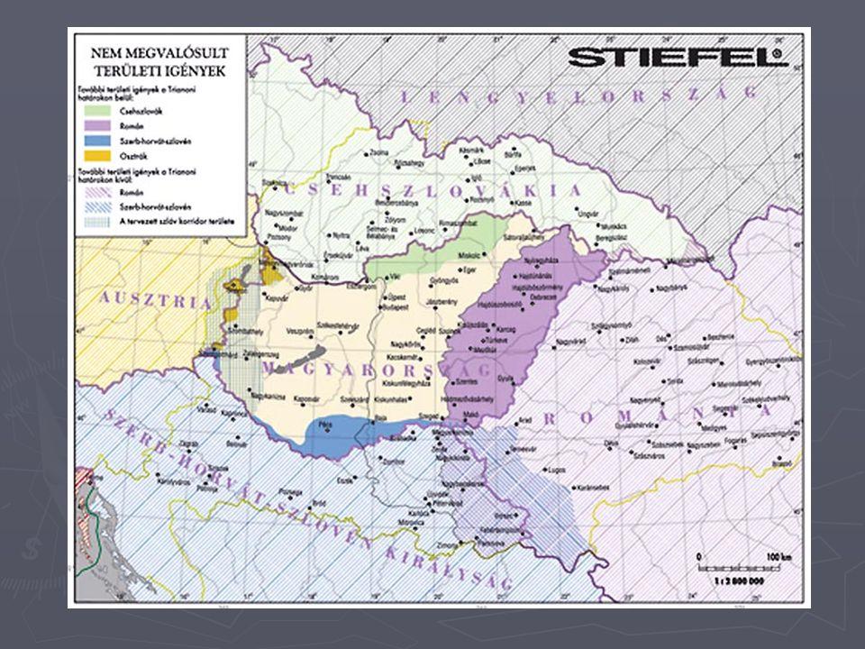 A revíziós igény ► A hivatalos Magyarország nem fogadhatott el ilyen területi és etnikai csonkítást, célul tűzte ki, hogy vissza kell szerezni az elszakított országrészeket ► Ez a revíziós politika, mely egységes támogatást kapott az országban (eltérő módozatok) » békés revízió » teljes revízió ► Ezzel az volt a baj, hogy irreális elképzelés volt a régi Mo.