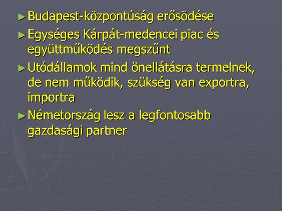 ► Budapest-központúság erősödése ► Egységes Kárpát-medencei piac és együttműködés megszűnt ► Utódállamok mind önellátásra termelnek, de nem működik, s