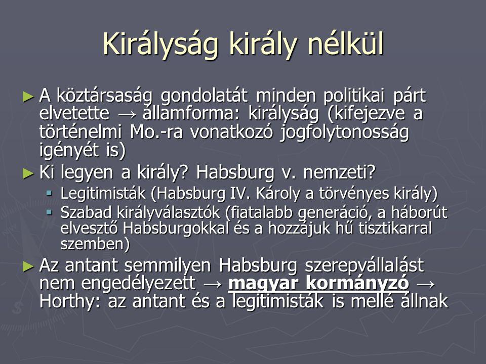 Királyság király nélkül ► A köztársaság gondolatát minden politikai párt elvetette → államforma: királyság (kifejezve a történelmi Mo.-ra vonatkozó jo
