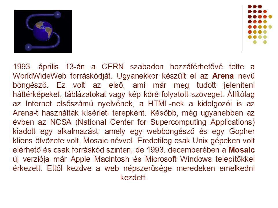 1993. április 13-án a CERN szabadon hozzáférhetővé tette a WorldWideWeb forráskódját. Ugyanekkor készült el az Arena nevű böngésző. Ez volt az első, a