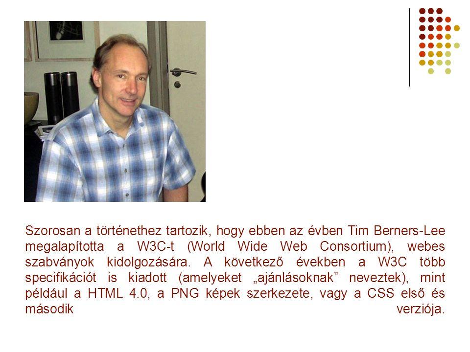 Szorosan a történethez tartozik, hogy ebben az évben Tim Berners-Lee megalapította a W3C-t (World Wide Web Consortium), webes szabványok kidolgozására