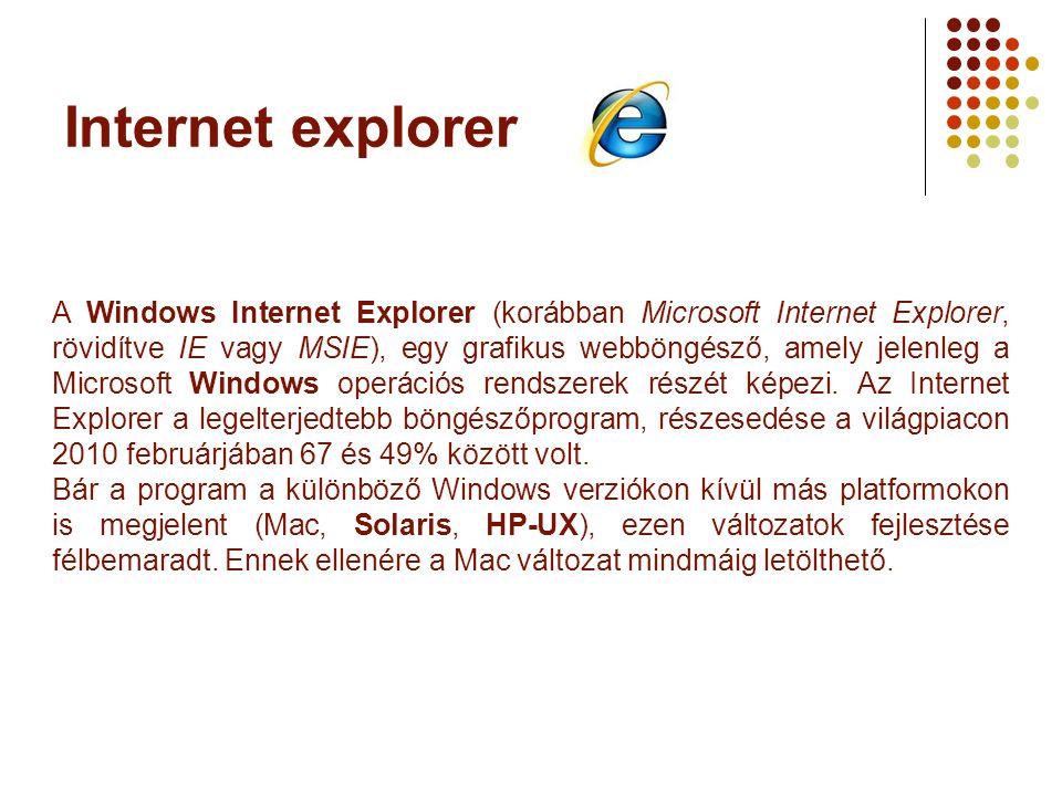 Internet explorer A Windows Internet Explorer (korábban Microsoft Internet Explorer, rövidítve IE vagy MSIE), egy grafikus webböngésző, amely jelenleg