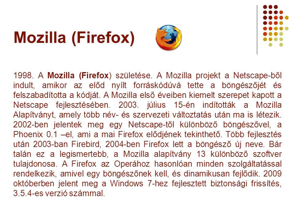 Mozilla (Firefox) 1998. A Mozilla (Firefox) születése. A Mozilla projekt a Netscape-ből indult, amikor az előd nyílt forráskódúvá tette a böngészőjét