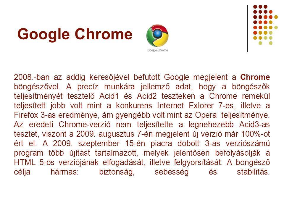 Google Chrome 2008.-ban az addig keresőjével befutott Google megjelent a Chrome böngészővel. A precíz munkára jellemző adat, hogy a böngészők teljesít