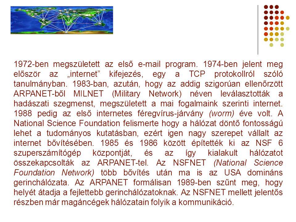 """1972-ben megszületett az első e-mail program. 1974-ben jelent meg először az """"internet"""" kifejezés, egy a TCP protokollról szóló tanulmányban. 1983-ban"""