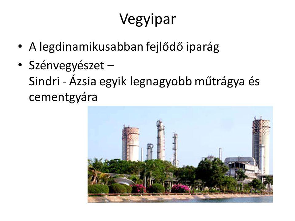 Vegyipar • A legdinamikusabban fejlődő iparág • Szénvegyészet – Sindri - Ázsia egyik legnagyobb műtrágya és cementgyára