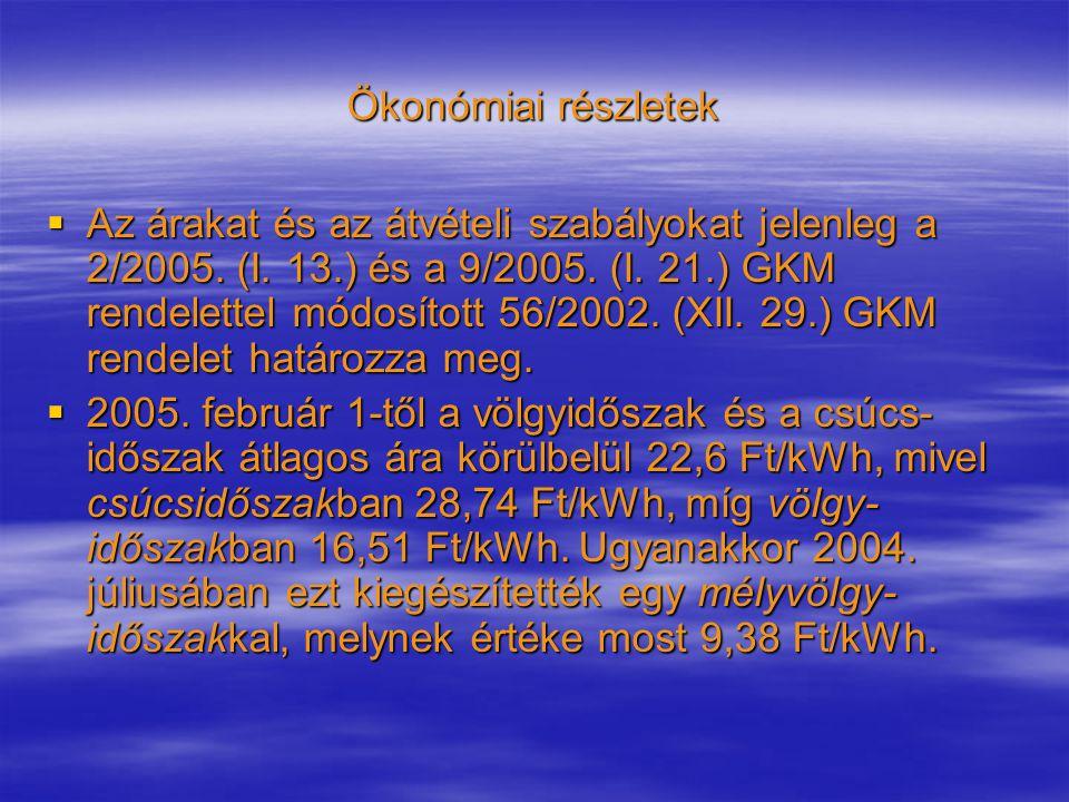  Az árakat és az átvételi szabályokat jelenleg a 2/2005. (I. 13.) és a 9/2005. (I. 21.) GKM rendelettel módosított 56/2002. (XII. 29.) GKM rendelet h