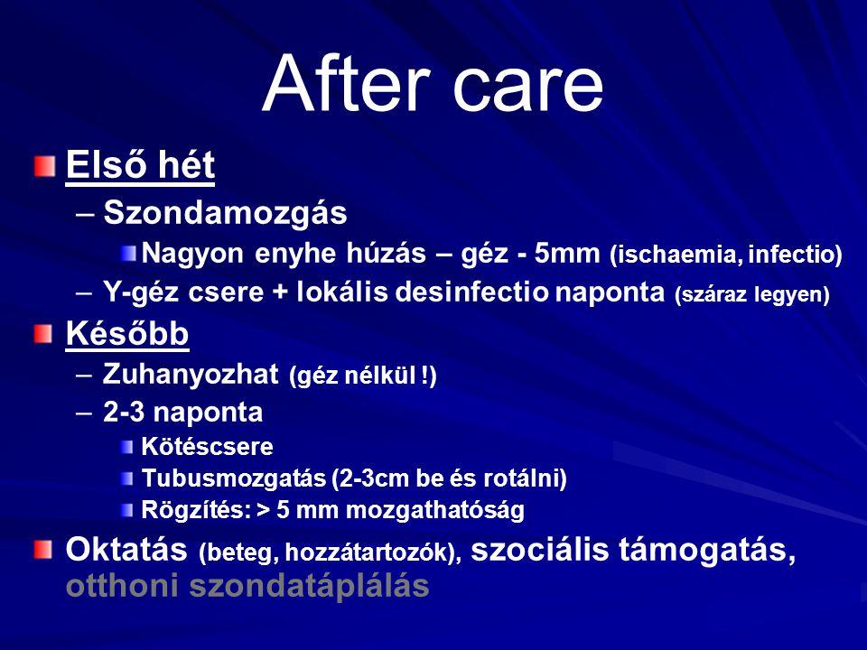 After care Első hét – –Szondamozgás Nagyon enyhe húzás – géz - 5mm (ischaemia, infectio) – –Y-géz csere + lokális desinfectio naponta (száraz legyen)