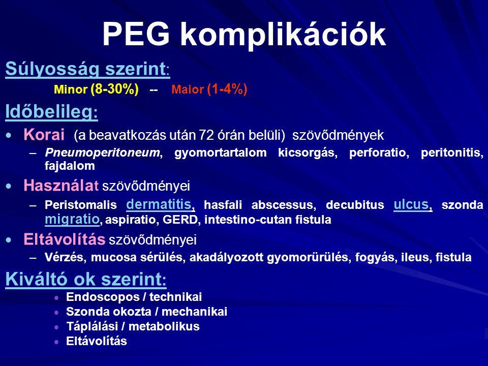 PEG komplikációk Súlyosság szerint : Minor (8-30%) -- Maior (1-4%) Időbelileg :   Korai (a beavatkozás után 72 órán belüli) szövődmények – –Pneumope