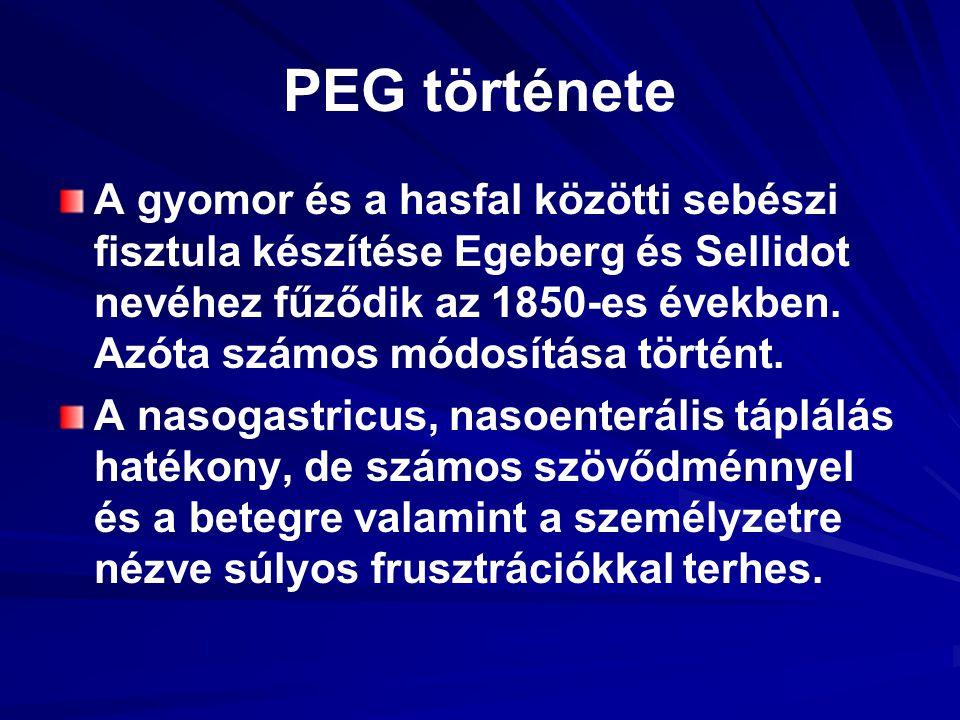 PEG története A gyomor és a hasfal közötti sebészi fisztula készítése Egeberg és Sellidot nevéhez fűződik az 1850-es években. Azóta számos módosítása