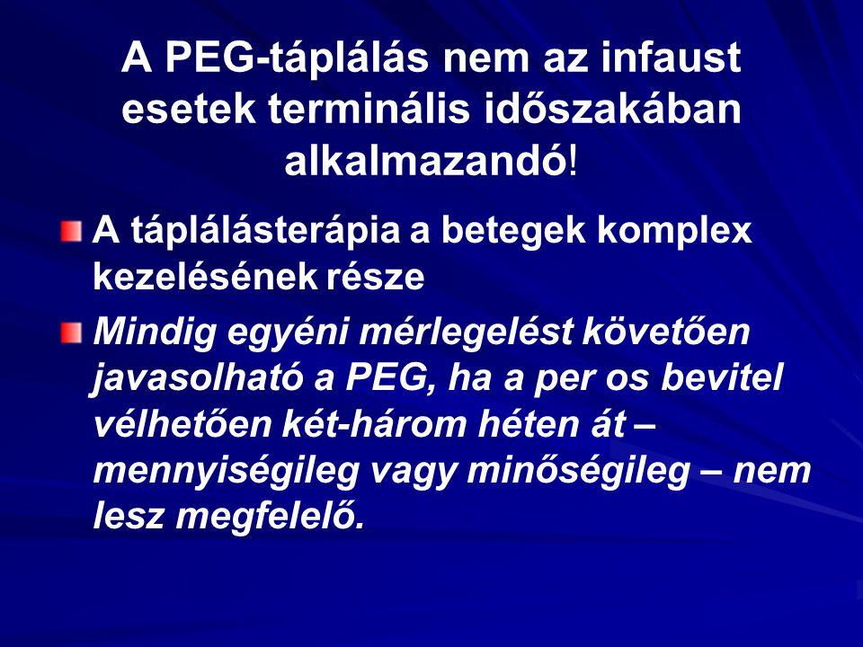 A PEG-táplálás nem az infaust esetek terminális időszakában alkalmazandó! A táplálásterápia a betegek komplex kezelésének része Mindig egyéni mérlegel