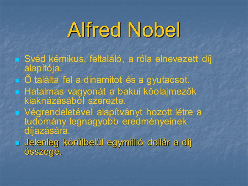 Alfred Nobel   Svéd kémikus, feltaláló, a róla elnevezett díj alapítója.   Ő találta fel a dinamitot és a gyutacsot.   Hatalmas vagyonát a bakui