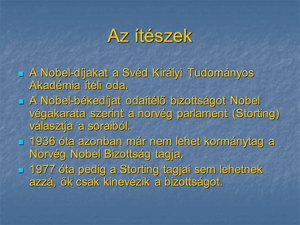 Az ítészek  A Nobel-díjakat a Svéd Királyi Tudományos Akadémia ítéli oda.  A Nobel-békedíjat odaítélő bizottságot Nobel végakarata szerint a norvég