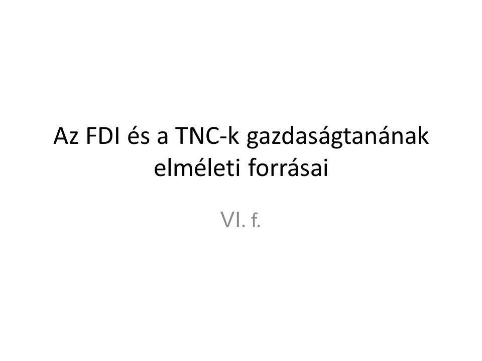 Az FDI és a TNC-k gazdaságtanának elméleti forrásai VI. f.