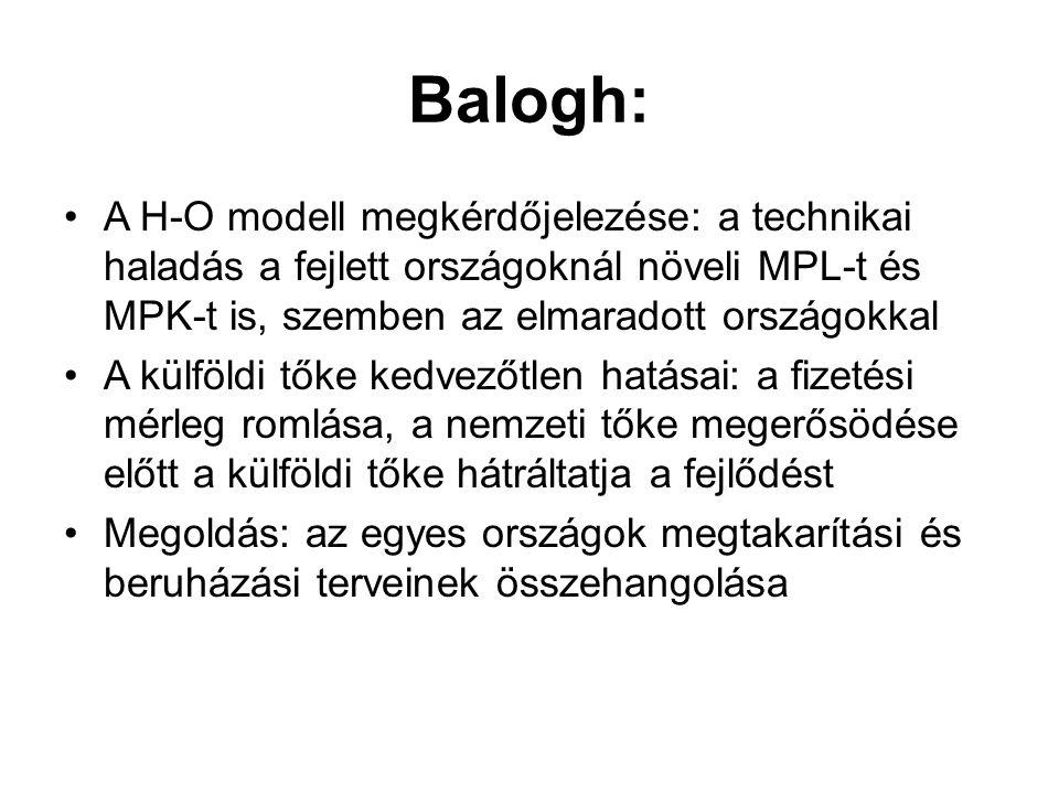 Balogh: •A H-O modell megkérdőjelezése: a technikai haladás a fejlett országoknál növeli MPL-t és MPK-t is, szemben az elmaradott országokkal •A külfö