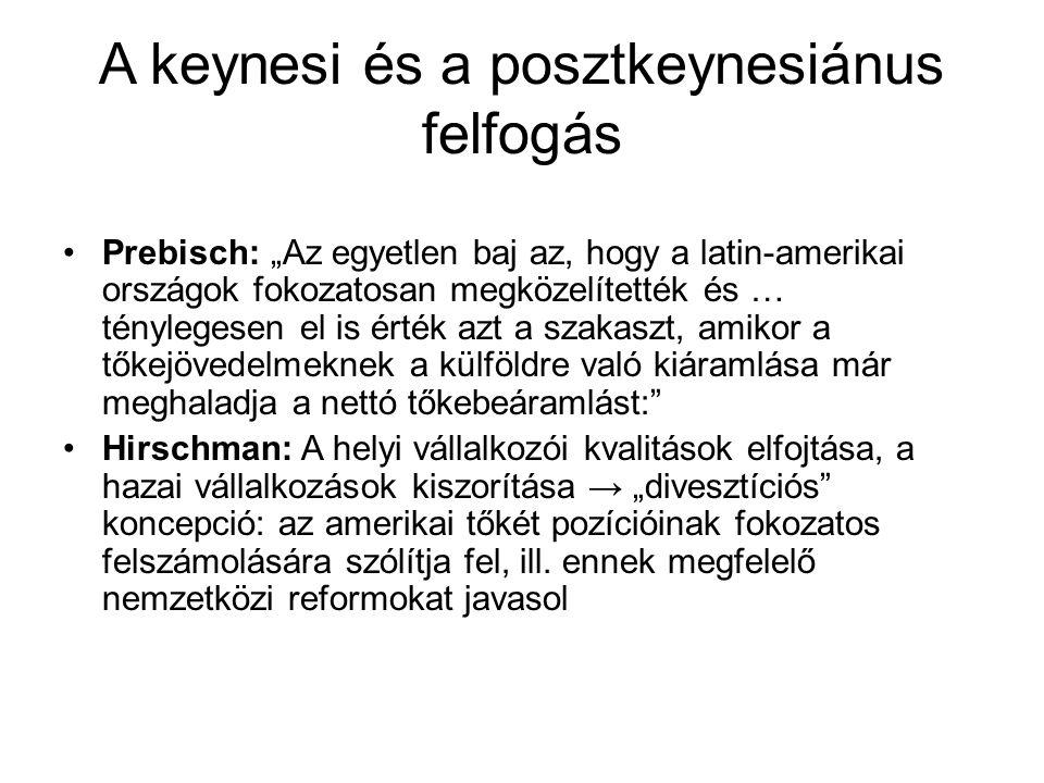 """A keynesi és a posztkeynesiánus felfogás •Prebisch: """"Az egyetlen baj az, hogy a latin-amerikai országok fokozatosan megközelítették és … ténylegesen e"""