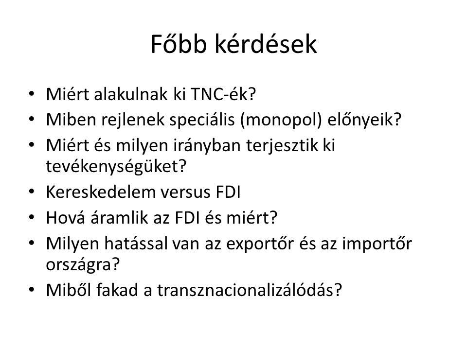 Főbb kérdések • Miért alakulnak ki TNC-ék? • Miben rejlenek speciális (monopol) előnyeik? • Miért és milyen irányban terjesztik ki tevékenységüket? •
