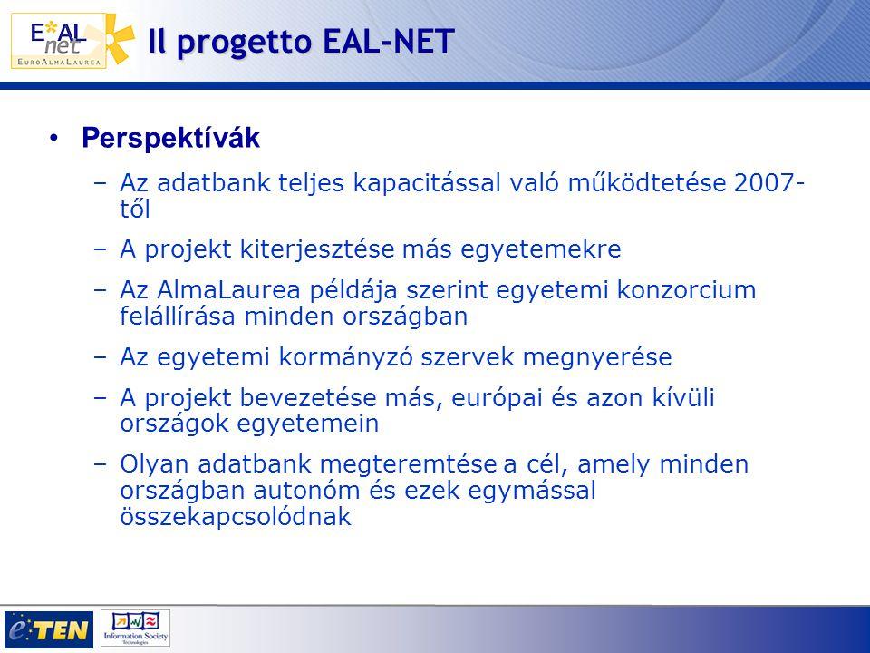 Il progetto EAL-NET •Perspektívák –Az adatbank teljes kapacitással való működtetése 2007- től –A projekt kiterjesztése más egyetemekre –Az AlmaLaurea példája szerint egyetemi konzorcium felállírása minden országban –Az egyetemi kormányzó szervek megnyerése –A projekt bevezetése más, európai és azon kívüli országok egyetemein –Olyan adatbank megteremtése a cél, amely minden országban autonóm és ezek egymással összekapcsolódnak