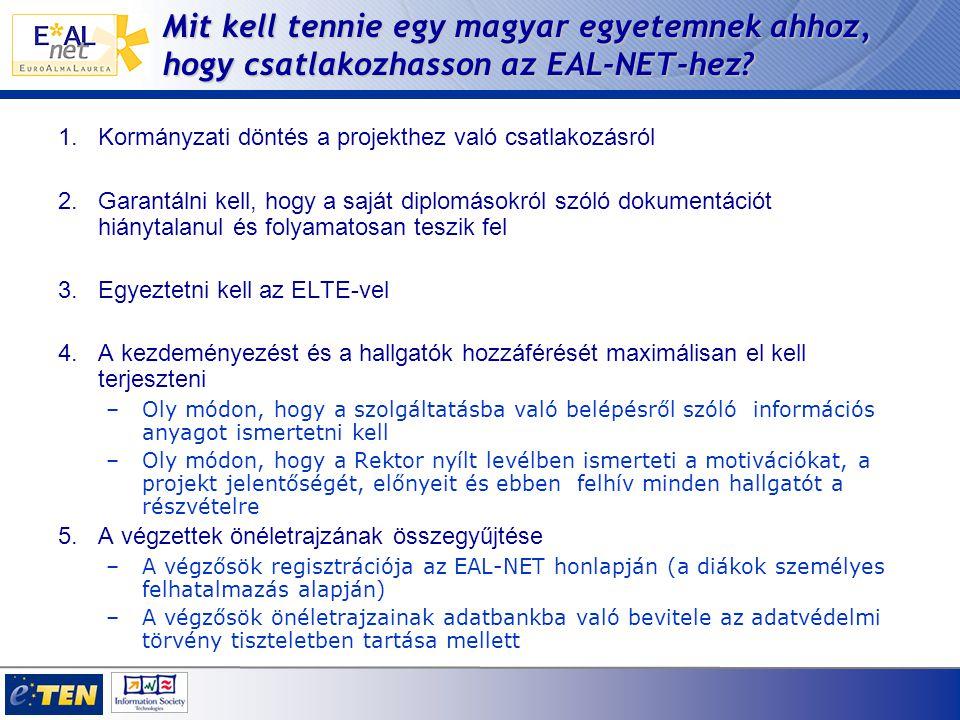 Mit kell tennie egy magyar egyetemnek ahhoz, hogy csatlakozhasson az EAL-NET-hez.
