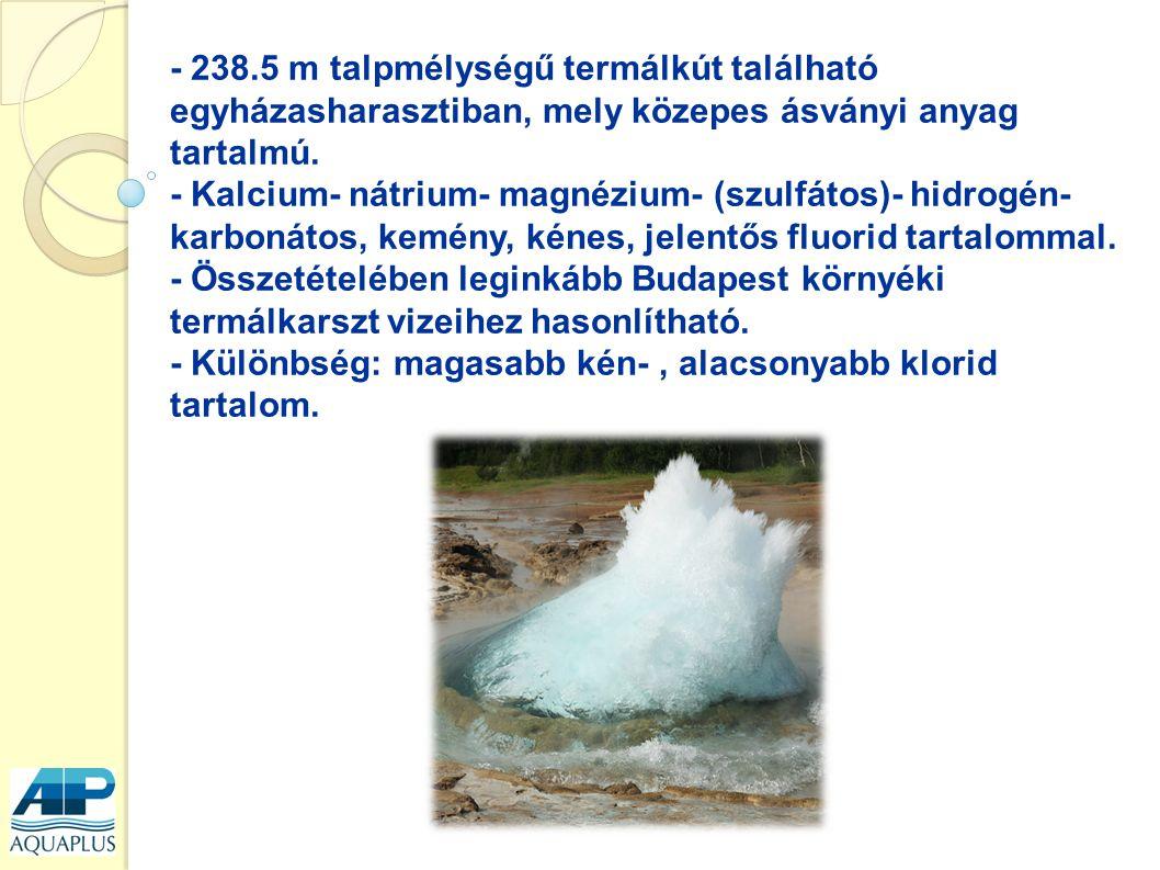 - 238.5 m talpmélységű termálkút található egyházasharasztiban, mely közepes ásványi anyag tartalmú. - Kalcium- nátrium- magnézium- (szulfátos)- hidro
