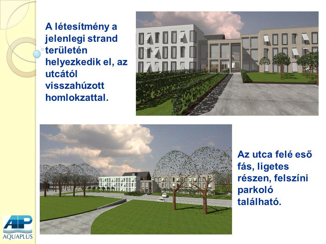 Épületek: - u alakúak, - fél átrium köré épített elrendezés, - három épület tömegre osztható.