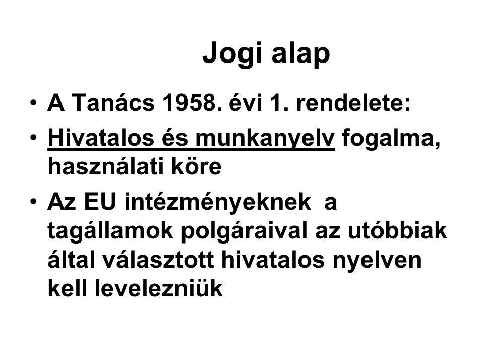 Jogi alap •A Tanács 1958.évi 1.