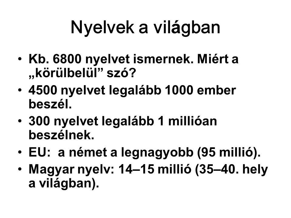 """Nyelvek a világban •Kb.6800 nyelvet ismernek. Miért a """"körülbelül szó."""