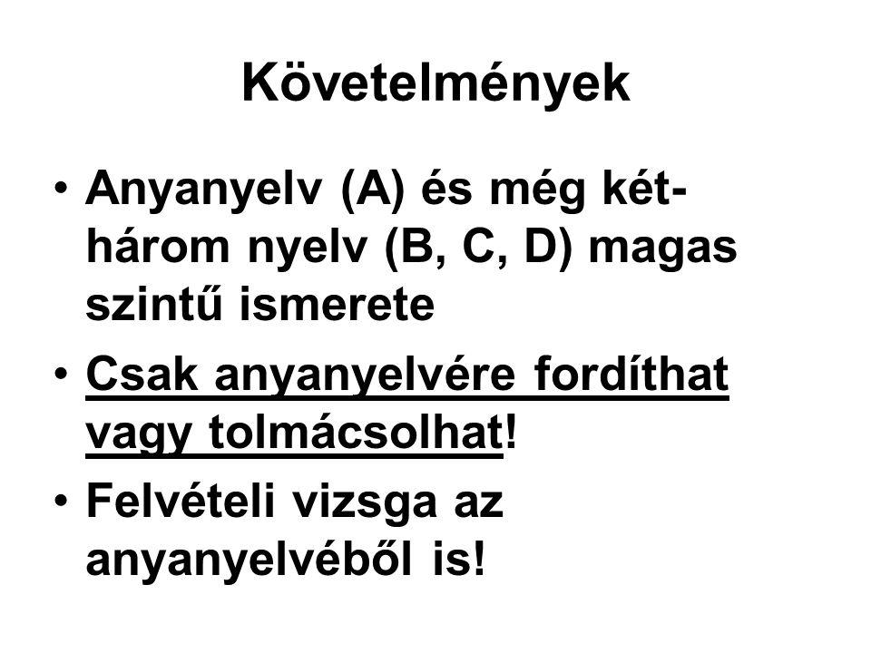 Követelmények •Anyanyelv (A) és még két- három nyelv (B, C, D) magas szintű ismerete •Csak anyanyelvére fordíthat vagy tolmácsolhat.