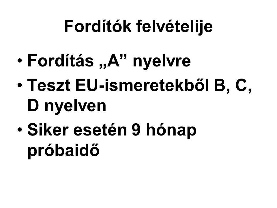 """Fordítók felvételije •Fordítás """"A nyelvre •Teszt EU-ismeretekből B, C, D nyelven •Siker esetén 9 hónap próbaidő"""