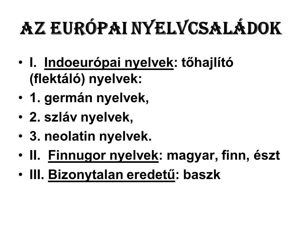 Az európai nyelvcsaládok •I.Indoeurópai nyelvek: tőhajlító (flektáló) nyelvek: •1.