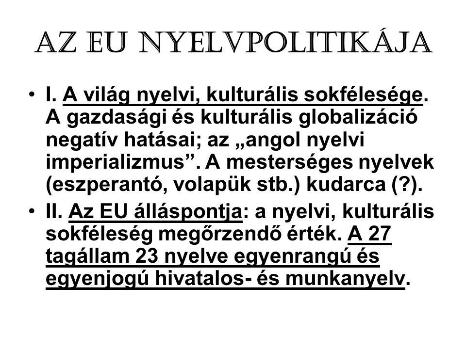 Az EU nyelvpolitikája •I.A világ nyelvi, kulturális sokfélesége.
