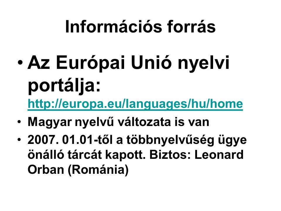 Információs forrás •Az Európai Unió nyelvi portálja: http://europa.eu/languages/hu/home http://europa.eu/languages/hu/home •Magyar nyelvű változata is van •2007.