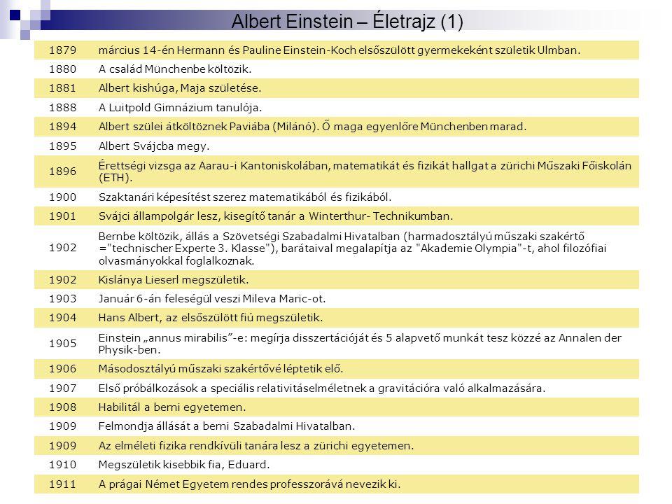 © Balogh Vilmos Szilárd4 Albert Einstein – Életrajz (1) 1879március 14-én Hermann és Pauline Einstein-Koch elsőszülött gyermekeként születik Ulmban. 1